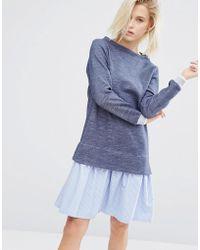 I Love Friday - 2 In 1 Jumper Dress With Stripe Hem Shirt Layer - Lyst