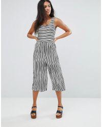 Liquorish - Striped Wide Leg Culotte Jumpsuit - Lyst