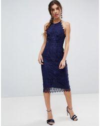 ASOS - Lace Pinny Scallop Edge Midi Pencil Dress - Lyst