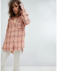 Free People - No Limits Plaid Buttondown Shirt - Lyst