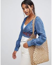 ASOS - Denim Embroidered Top In Midwash Blue - Lyst