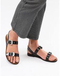 Pull&Bear - Western Buckle Sandal In Black - Lyst