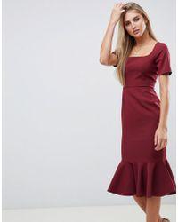 ASOS - Short Sleeve Midi Pencil Dress With Pep Hem - Lyst