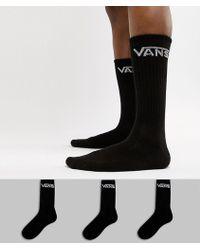 Vans - Classic 3 Pack Socks In Black Vxseblk - Lyst