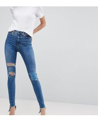ASOS - Asos Design Tall Ridley High Waist Skinny Jeans In Extreme Mid Wash With Busted Knee And Rip & Repair Detail - Lyst