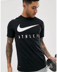 cb4562b00c18e Nike Dri-fit Swoosh Athlete Training T-shirt in Gray for Men - Lyst