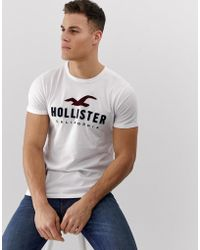 Hollister Chest Embroidered Box Logo T-shirt In White