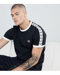 Fred Perry - Sports Authentic Taped Ringer T-shirt In Black - Lyst
