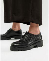 Vagabond - Kenova Moc Croc Leather Lace Up Shoes - Lyst