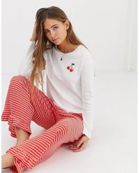 ASOS - Mix & Match Cherry Embroidered Pyjama Long Sleeve Top - Lyst