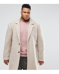 ASOS - Plus Relaxed Borg Overcoat In Ecru - Lyst