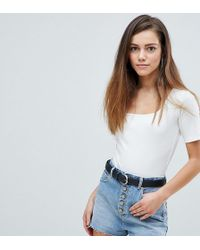 Boohoo - Square Neck Short Sleeve Body - Lyst