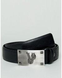 Versace Jeans - Ceinture avec grande boucle à bouton-pression et logo - Lyst 9b7381cd625