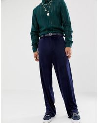 ASOS - Slouchy Suit Trousers In Navy Velvet - Lyst
