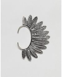 ASOS - Design Ear Cuff With Feather In Burnished Silver - Lyst