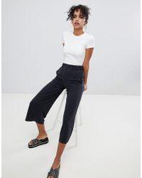 Monki - Wide Leg Cropped Trousers - Lyst