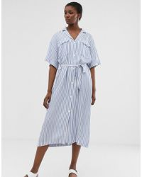 Weekday - Tie Waist Midi Dress In Light Blue And White Stripes - Lyst