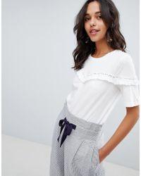 Vila - Ruffle T-shirt With Crochet Trim - Lyst