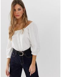 b90ff1c66d79ac ASOS - 3 4 Sleeve Square Neck Top With Button Detail In Linen - Lyst