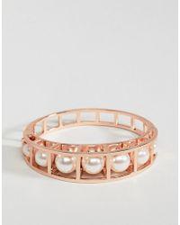 Karen Millen - Cube Cage Pearl Hinged Bracelet - Lyst