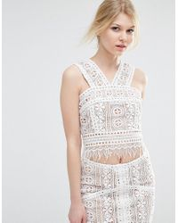 True Decadence - Co-ord Premium Lace Overlay Crop Top - Lyst