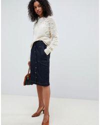 SELECTED - Femme High Waisted Denim Button Through Midi Skirt - Lyst