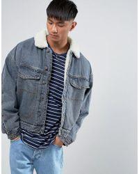 ASOS - Fully Borg Lined Oversized Denim Jacket In Blue Wash - Lyst