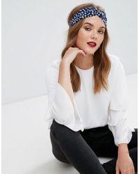 Glamorous - Polka Dot Knotted Headband - Lyst