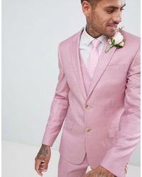 River Island - Skinny Fit Wedding Suit Jacket In Pink - Lyst