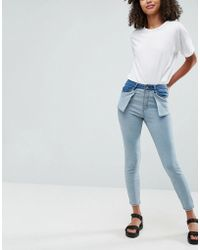 ASOS - Ridley High Waist Skinny With Inside Out Styling - Lyst