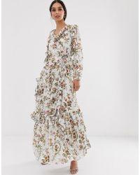 8804148f9209e5 Needle & Thread - Vestito lungo a maniche lunghe a fiori - Lyst