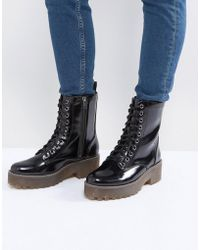 Monki - Patent Chunky Lace Up Boots - Lyst
