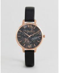 Olivia Burton - Ob16gd22 Celestial Leather Watch In Black - Lyst