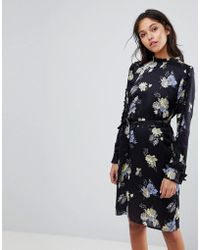 Gestuz - Flower Printed Dress With Frill Neck - Lyst