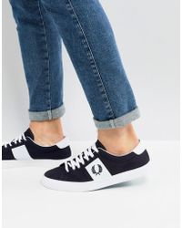 Fred Perry - Underspin Twill Trainers In Navy - Lyst