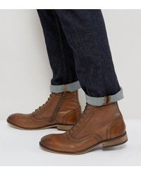 ASOS - Wide Fit Lace Up Brogue Boots In Tan Leather With Zips - Lyst