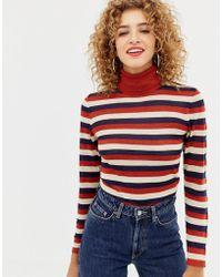 ONLY - Sheer Glitter Stripe Roll Neck Jumper - Lyst