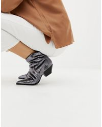 ASOS - Annie Silver Sequin Western Boots - Lyst