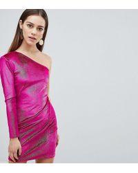 978d78374c9d Flounce London - Glitter Velvet One Shoulder Mini Dress - Lyst