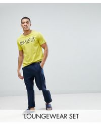 Tommy Hilfiger | Pajama Set Logo T-shirt & Pants In Yellow/navy | Lyst