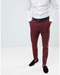 ASOS - Pantalones de esmoquin ajustados en burdeos de - Lyst