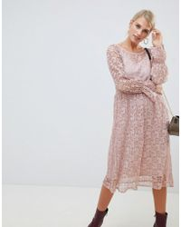 Vila - Lace Smock Dress - Lyst