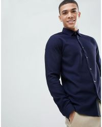 Ted Baker - Shirt In Navy Jersey - Lyst