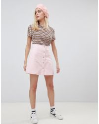 Glamorous - A-line Core Mini Skirt With Button Front - Lyst