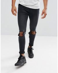 Boohoo - Super Skinny Jeans With Knee Rips In Black Wash - Lyst