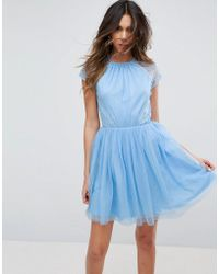 ASOS - Premium Lace Tulle Mini Prom Dress - Lyst