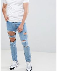 ASOS - Design Slim Jeans In Mid Wash Blue With Heavy Rips - Lyst