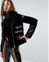 Tripp Nyc - Faux Fur Collar Jacket With Buckle Detail - Lyst