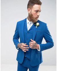 ASOS   Super Skinny Fit Suit Jacket In Blue   Lyst