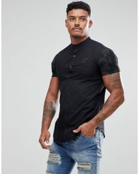 SIKSILK - Muscle Shirt In Black With Camo Sleeves - Lyst